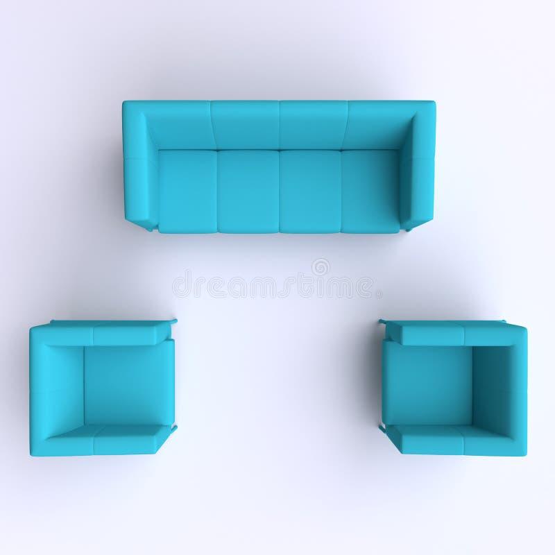 Sofá e duas cadeiras Vista superior ilustração royalty free