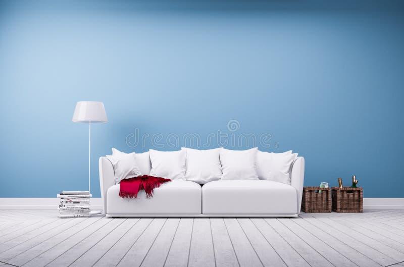 Sofá e lâmpada de assoalho na parede azul foto de stock royalty free