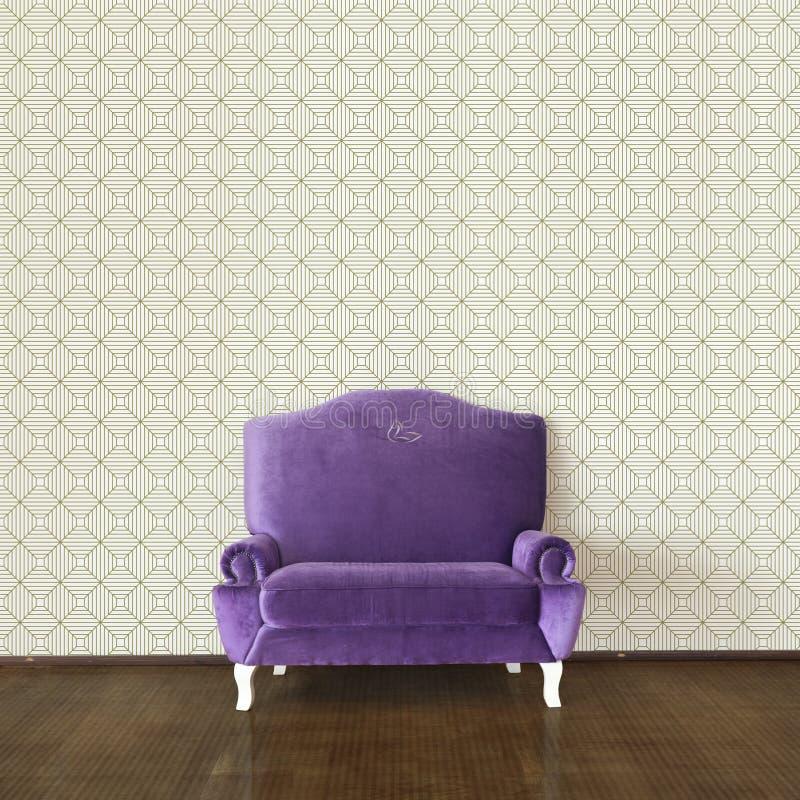 Sofá e papel de parede roxos ilustração stock