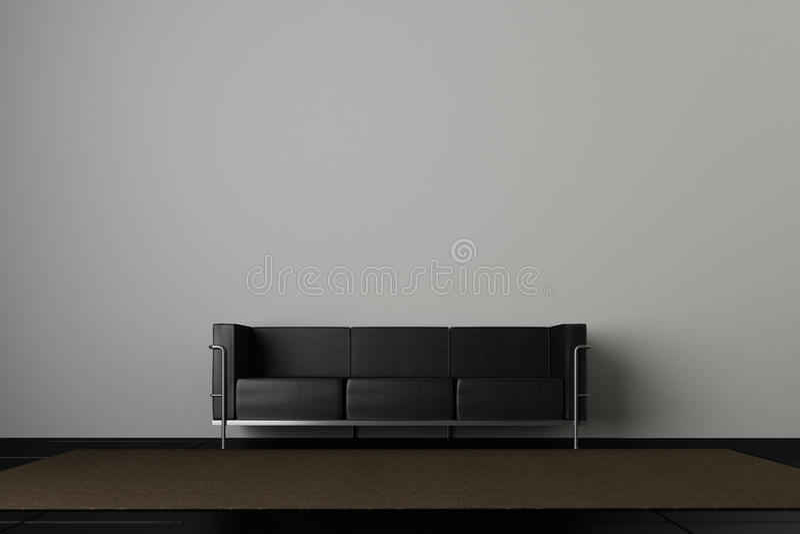 Download Sofá e parede cinzenta ilustração stock. Ilustração de interior - 24699003