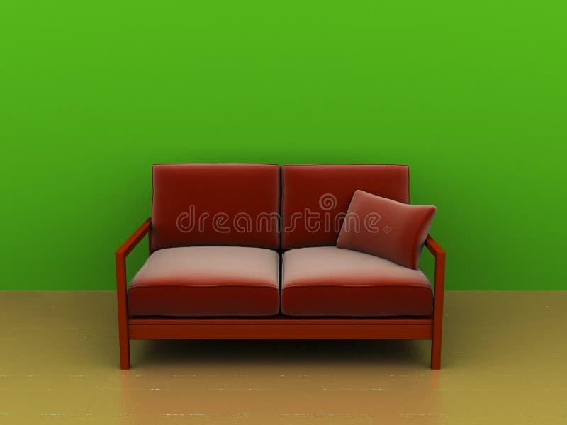 Sofá e parede verde ilustração stock