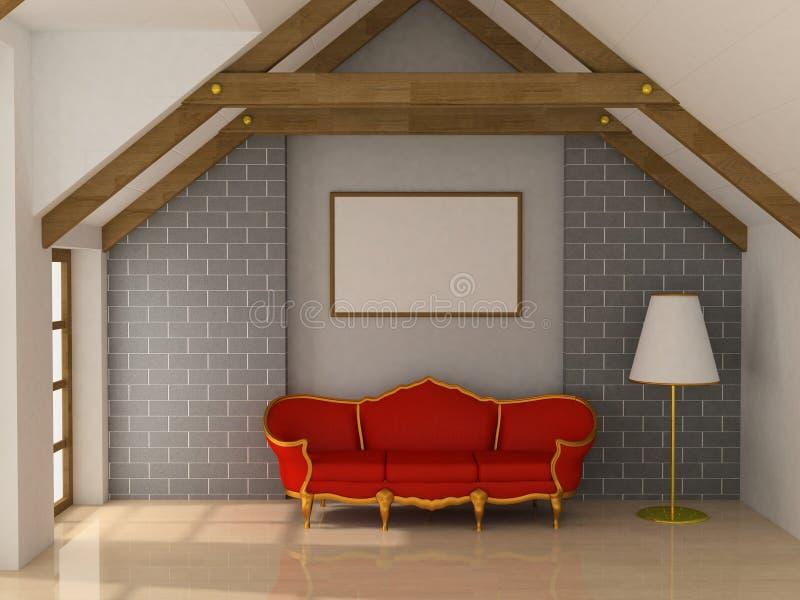 Sofá e quadro ilustração stock