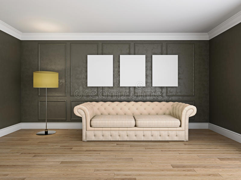 Sofá e quadro na rendição da sala 3d imagem de stock royalty free