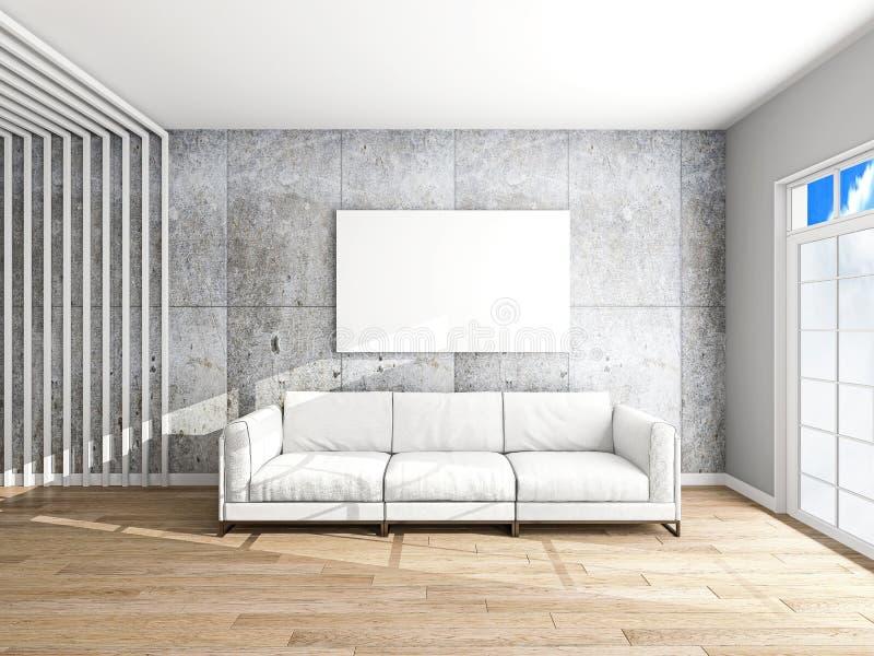 Sofá e quadro na rendição da sala 3d imagem de stock