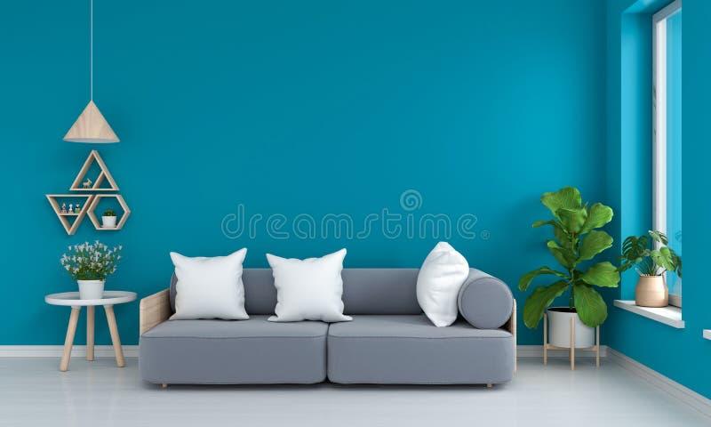 Sofá e tabela cinzentos na sala de visitas azul, rendição 3D ilustração stock