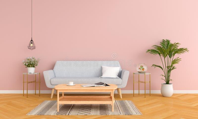 Sofá e tabela cinzentos na sala de visitas para o modelo, rendição 3D ilustração stock
