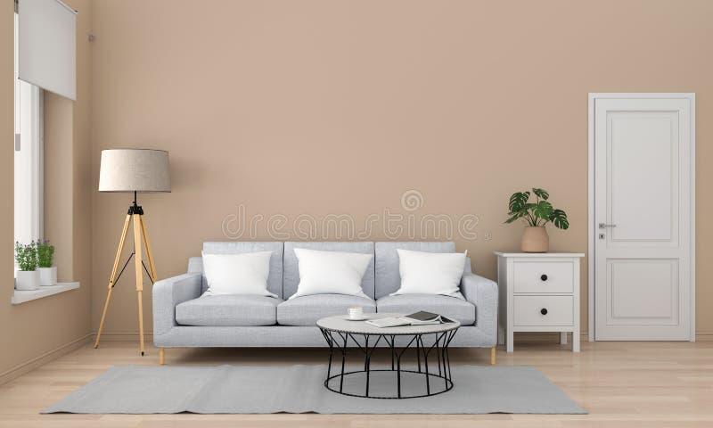 Sofá e tabela cinzentos na sala de visitas, rendição 3D ilustração do vetor