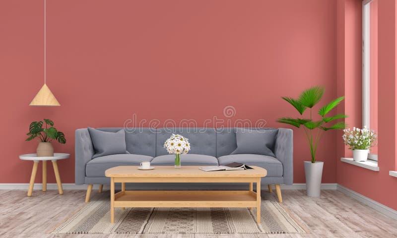 Sofá e tabela de madeira na sala de visitas, rendição 3D ilustração do vetor