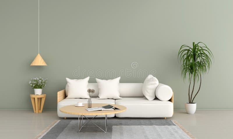 Sofá e tabela de madeira na sala de visitas verde, rendição 3D ilustração stock