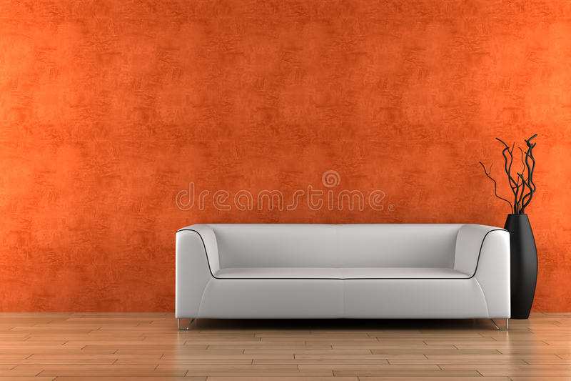 Sofá e vaso brancos com madeira seca ilustração stock