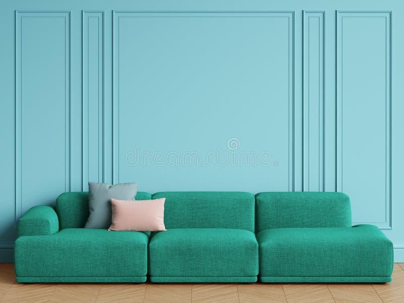Sofá escandinavo moderno del verde esmeralda del diseño en interior Paredes azules con los moldeados, raspa de arenque del entari ilustración del vector
