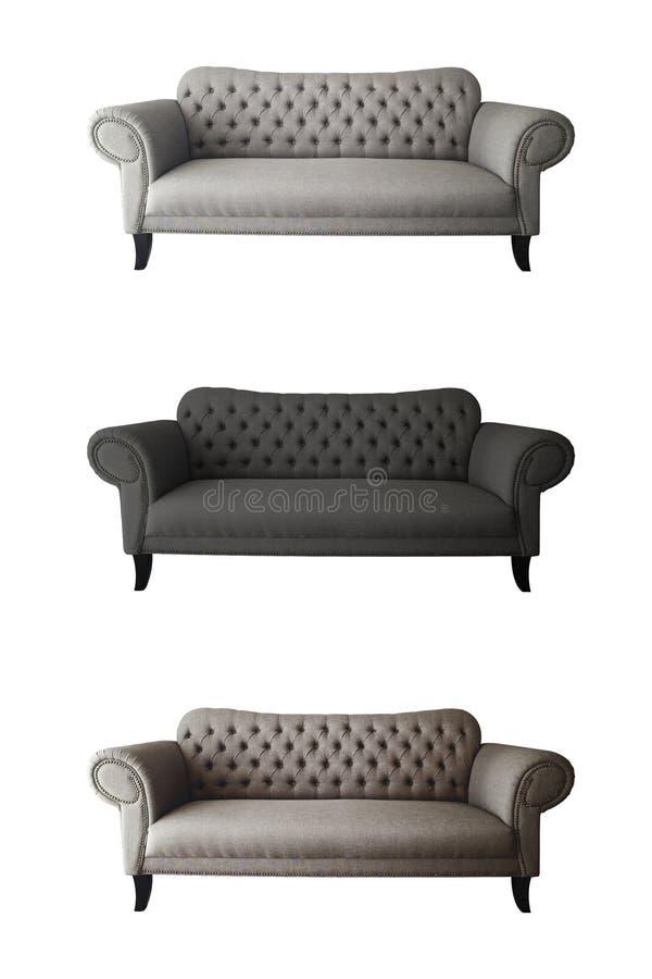 sofá grande 3 en la crema blanca de la hola-resolución del fondo, negro, marrón imágenes de archivo libres de regalías