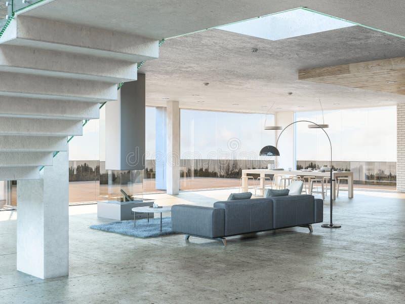 Sofá gris con la opinión de la terraza ilustración del vector