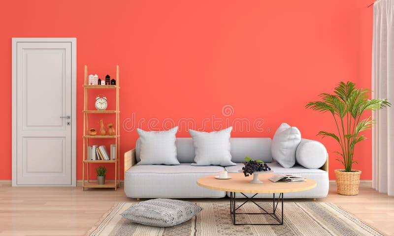 Sofá gris en la sala de estar anaranjada, representación 3D ilustración del vector