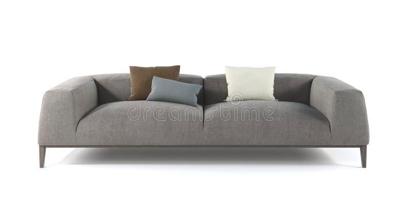 Sofá gris moderno de la tela con las piernas y las almohadas en fondo blanco aislado Muebles, objeto interior ilustración del vector