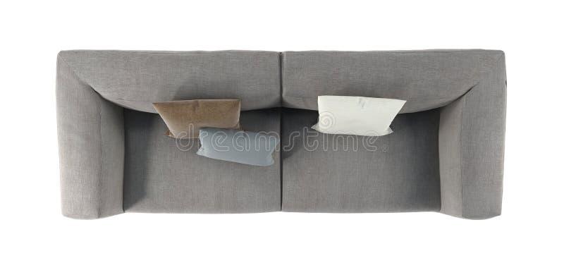 Sofá gris moderno de la tela con las piernas y las almohadas en la opinión blanca aislada del fondo desde arriba Muebles, objeto  libre illustration
