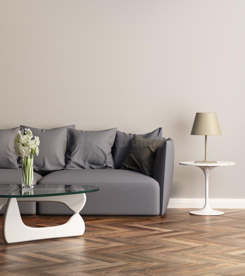 Sofá gris moderno en una sala de estar contemprary fotos de archivo libres de regalías
