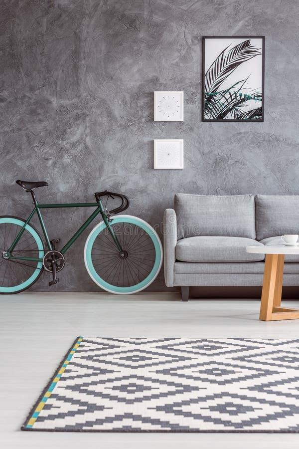 Sofá gris y bicicleta elegante imagen de archivo