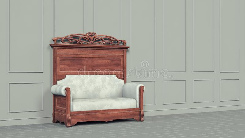 Sofá interior clásico hermoso gris, gran diseño para cualquier propósitos Vacie el sitio blanco 3d elegante moderno rendir diseño ilustración del vector
