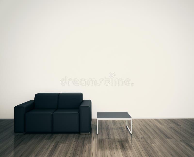 Sofá interior moderno mínimo para enfrentar a parede em branco ilustração royalty free