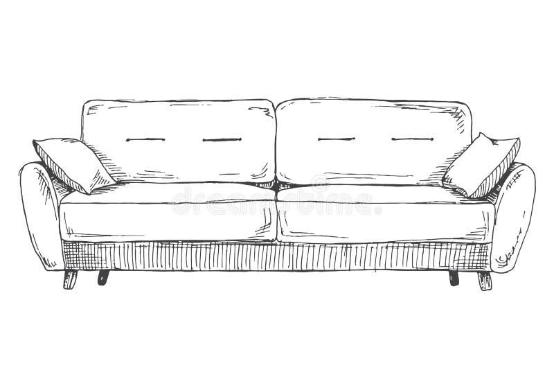 Sofá isolado no fundo branco Ilustração do vetor em um estilo do esboço ilustração stock