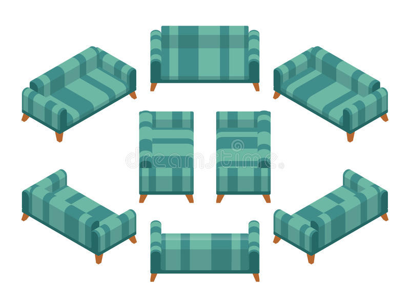 Sofá isométrico stock de ilustración