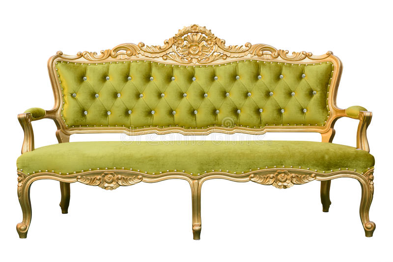 Sofá luxuoso do verde do vintage isolado fotografia de stock