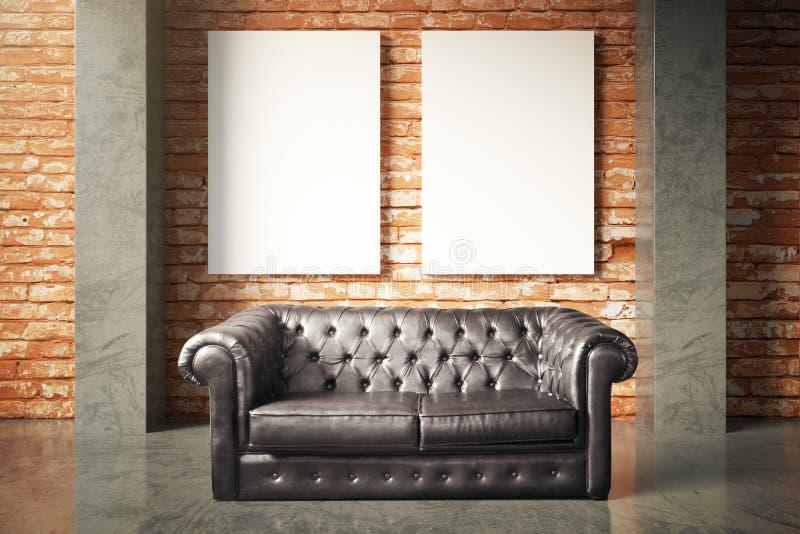 Sofá luxuoso e cartaz vazio ilustração do vetor