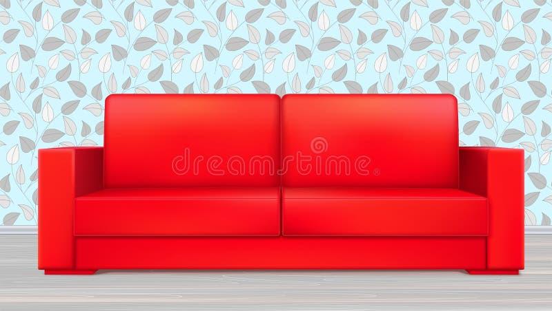 Sofá luxuoso moderno vermelho para a sala de visitas, a recepção ou a sala de estar Vetor, ilustração 3D no interior no contexto  ilustração do vetor