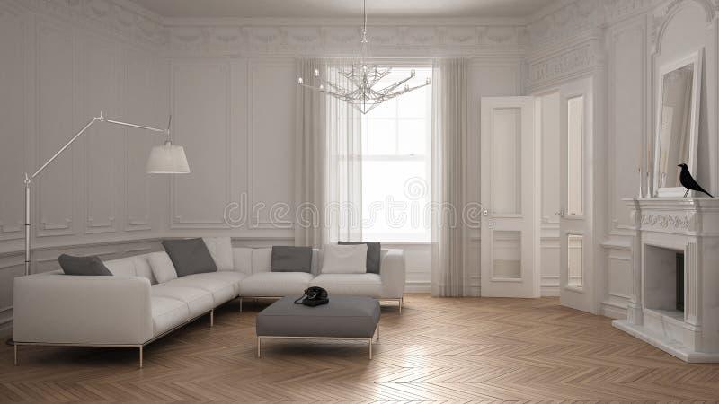 Sofá minimalista moderno en sala de estar clásica del vintage con el firep ilustración del vector
