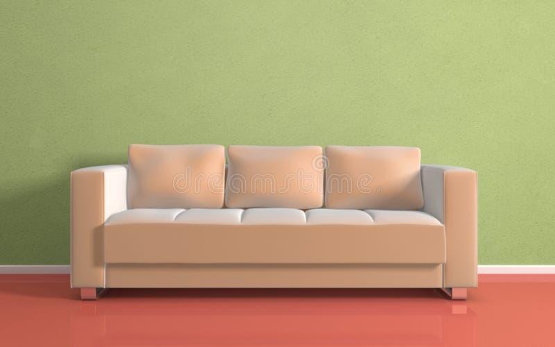 Sofá moderno bege. ilustração do vetor