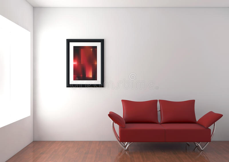 Sofá moderno en sitio ilustración del vector