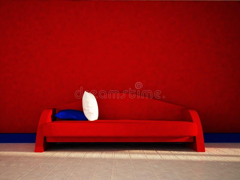 Sofá moderno na sala, 3d ilustração do vetor