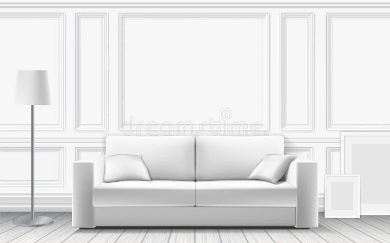Sofá moderno no fundo da parede branca ilustração royalty free