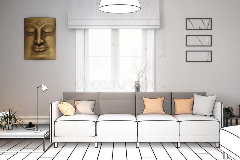 Sofá moderno presentado en una sala de estar libre illustration