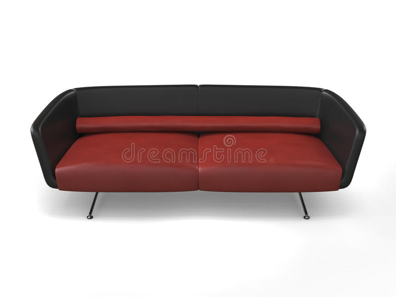 Sofá moderno vermelho à moda - vista superior fotografia de stock