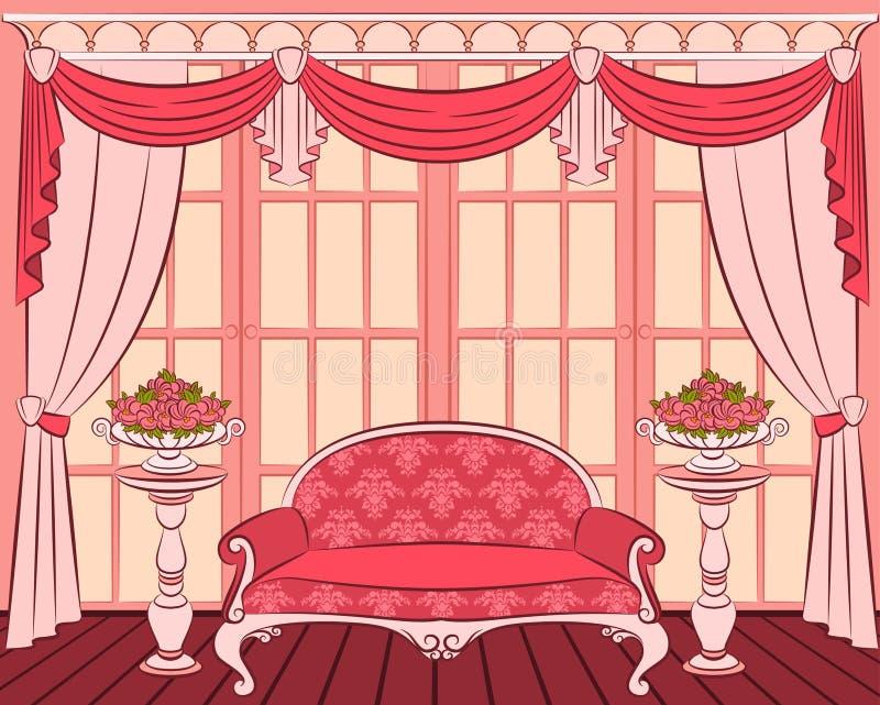 Sofá no interior do vintage ilustração royalty free