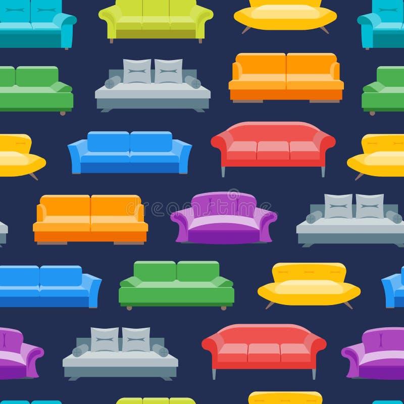 Sofá o Divan Background Pattern de la historieta en un azul Vector stock de ilustración