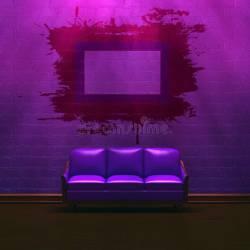 Sofá púrpura solo con el marco del grunge ilustración del vector