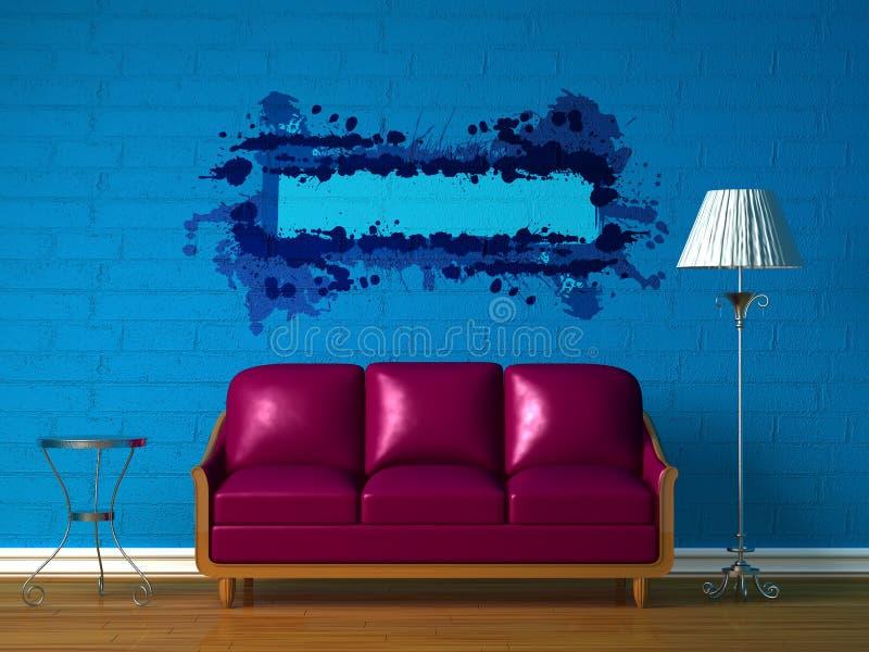 Sofá púrpura, vector y lámpara estándar stock de ilustración