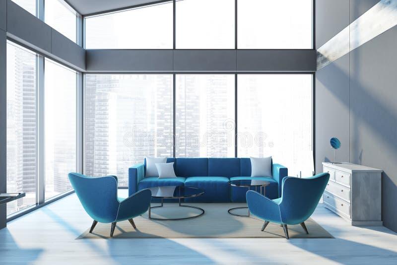 Sofá panorâmico do azul da sala de visitas da sótão de luxo ilustração royalty free