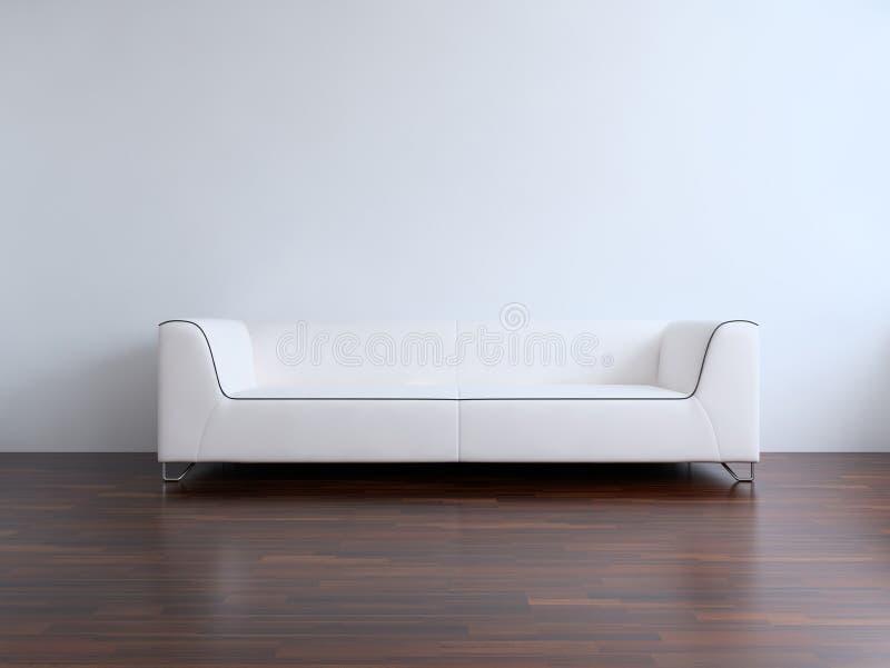 Sofá para hacer frente a una pared en blanco stock de ilustración