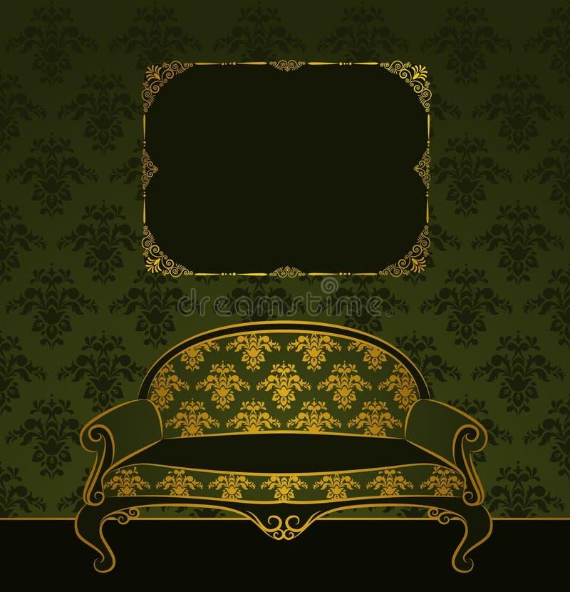 sofá para o interior do vintage ilustração do vetor