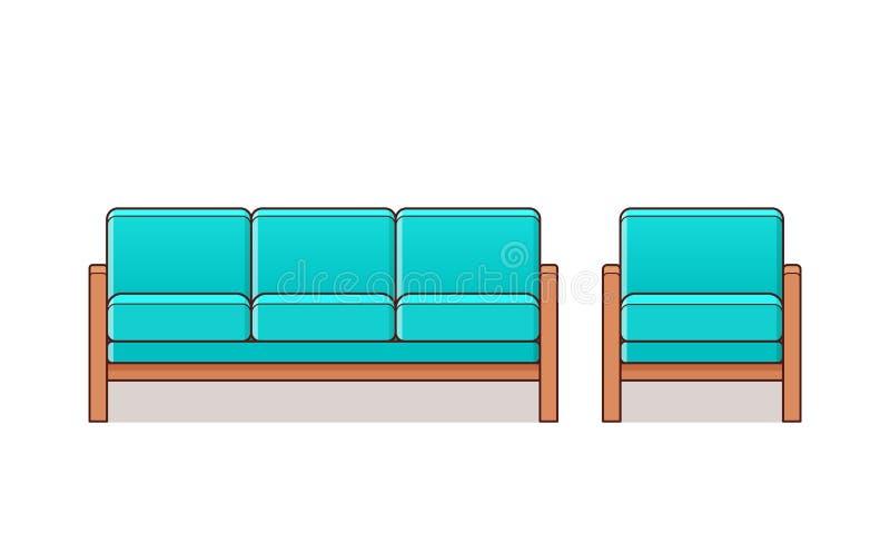 Sofá, poltrona, ícone do sofá Ilustração do esboço do vetor ilustração royalty free