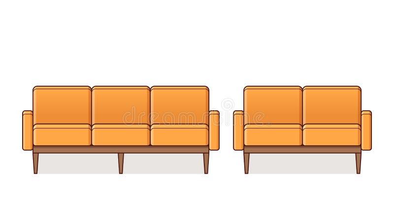 Sofá, poltrona, ícone do sofá Ilustração do esboço do vetor ilustração stock