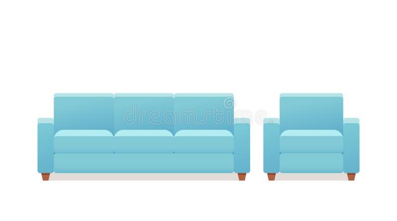 Sofá, poltrona, ícone do sofá Ilustração do vetor no projeto liso ilustração royalty free