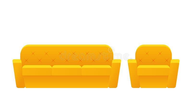 Sofá, poltrona, ícone do sofá Ilustração do vetor no projeto liso ilustração stock