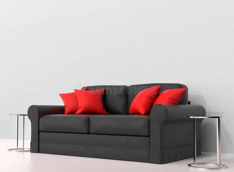 Sofá preto com os descansos vermelhos com as duas tabelas de extremidade nos lados ilustração royalty free