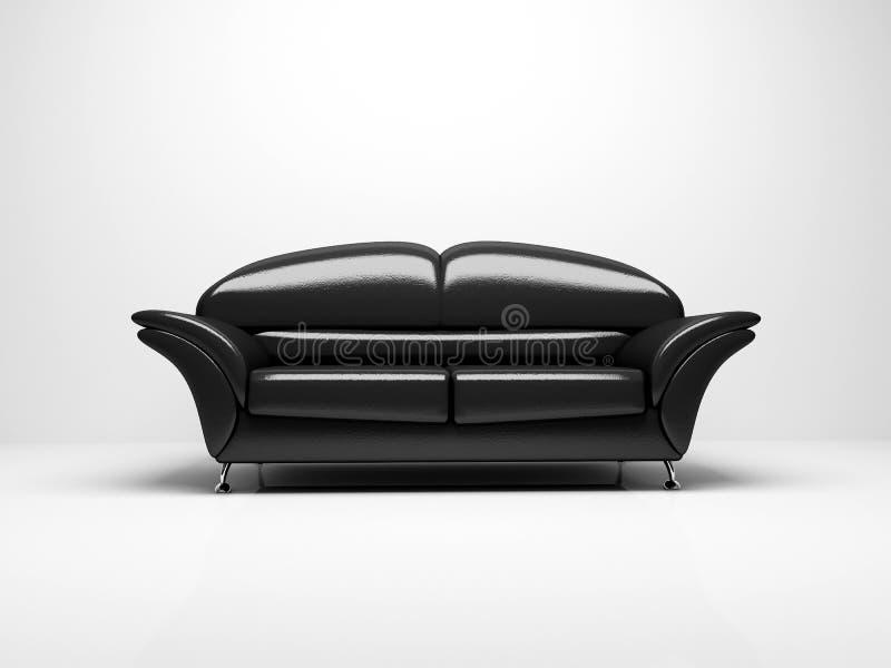 Sofá preto no fundo branco isolado ilustração stock