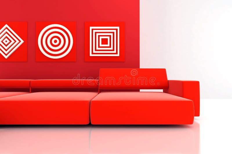Sofá rojo stock de ilustración